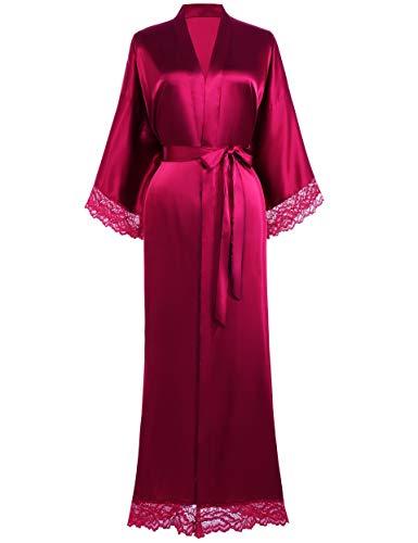 Coucoland Damen Morgenmantel Lang Kurz Einfarbiger Bademantel Spitzen Ärmel Seide Satin Kimono Kleid Damen Sommer Robe Reine Farbe Schlafmantel (Lang - Weinrot)