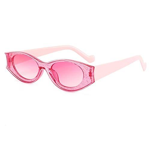 DovSnnx Gafas De Sol Unisex para Hombres Y Mujers Polarizadas Protección UV400 Clásico Vintage Moda Sunglasses Lente En Polvo con Montura En Polvo Ovalada con Purpurina En Contraste