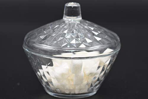 Sugar Bowl Clear Glass Candy Box with Lid Elegant Cookie Jar Covered Storage Dish Volume 1125 oz and height 448 inches Dishwasher Safe Made in Turkey Artemiss1