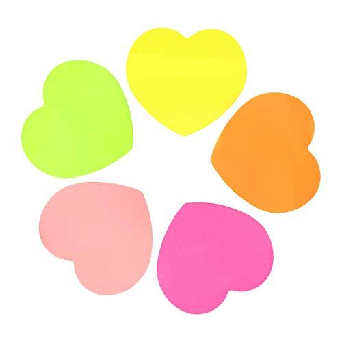 NUOLUX 3 Selbstklebende Notizzettel Herzförmige Haftnotizen Notizblöcke Erleichterte Aufkleber Notizblöcke