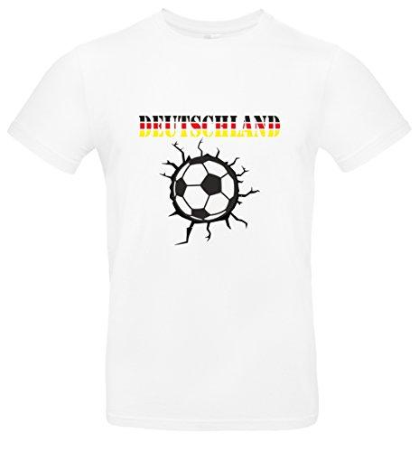 BlingelingShirts T-Shirt Herren WM Shirt Deutschland Fussball Durchbruch mit Deutschland Schriftzug Dreifarbig Germany 2018, T-Shirt, Grösse XXXXL, Weiß