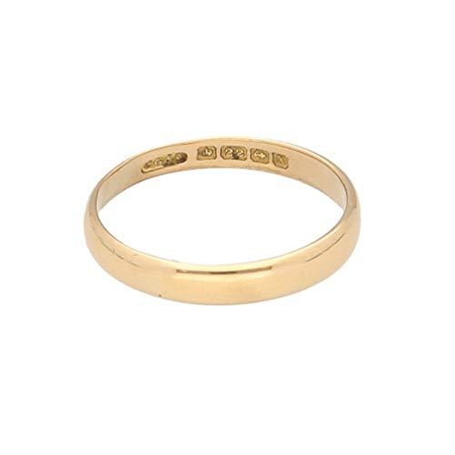 Alianza de boda de oro amarillo de 22 quilates en forma de D (tamaño O 1/2) de 2 mm de ancho   Anillo de lujo para mujer