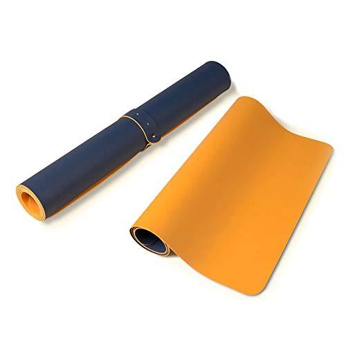 Suntapower Almohadilla para el Ratón, Tapete de Escritura de Cuero de PU Doble Lado Extendido Impermeable y Antideslizante, 80x40cm, Azul Oscuro&Amarillo 1PACK