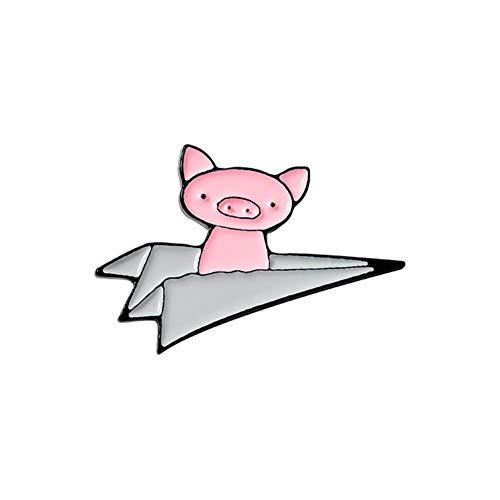 Avión de papel, alfileres de esmalte, broche de cerdos voladores personalizados, alfiler de solapa, camisa, bolsa, insignia, divertido, lindo, animal, joyería, regalo para niños, estilo Friends1