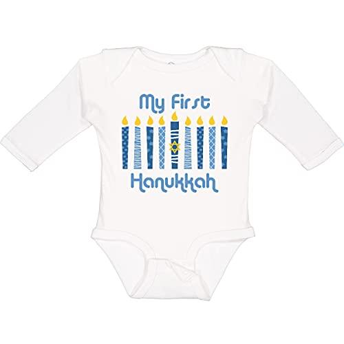 inktastic 1st Hanukkah Candles Long Sleeve Creeper Newborn White 27db6