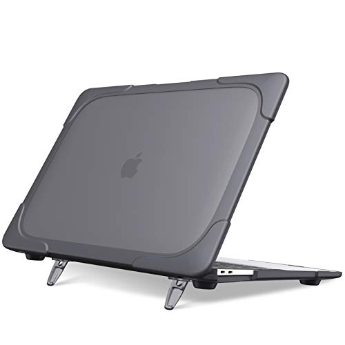 FINTIE Case for MacBook Air 13' A2337 (M1) / A2179 / A1932 (2020 2019 2018 Release) - Heavy Duty Matte Coated Hard Shell Cover with Fold Kickstand for MacBook Air 13 Retina Display with Touch ID, Gray