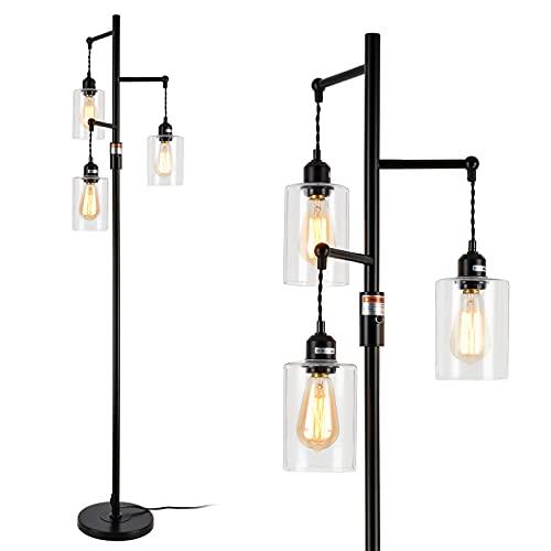 Rayofly Industrielle Stehlampe, Retro Stehleuchte mit 3 Klarglas-Lampenschirme, Hohe 163 cm, Bauernhaus Sofa Leselampe für Büro Wohnzimmer Schlafzimmer, E27, Schwarze