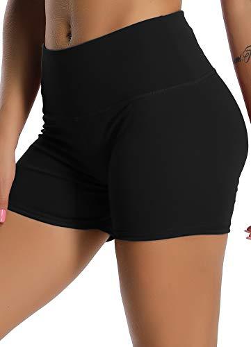 STARBILD Shorts Pantalones Deportes Cortos de Fitness Mallas para Mujer Elástico de Alta Cintura para Correr Gimnasio Gym #1 Classic-Negro S