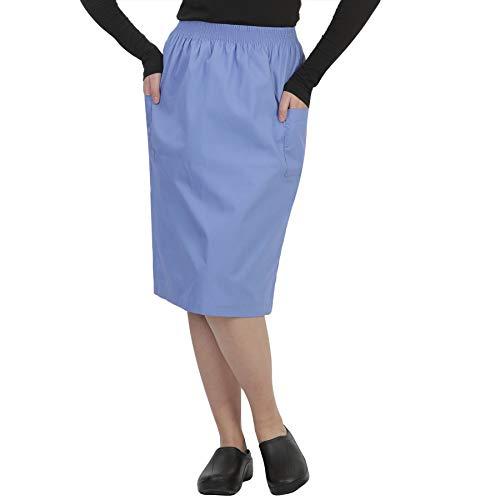 MAZEL UNIFORMS Womens A-LINE Scrub Skirt with Cargo Pockets and Elastic Waist Size Large Ceil Blue