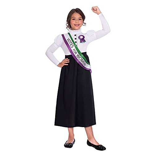 Amscan Dress Up- Suffragette Girl Disfraz, Color black, white, green and purple, medium 6-8 aos (9904688)