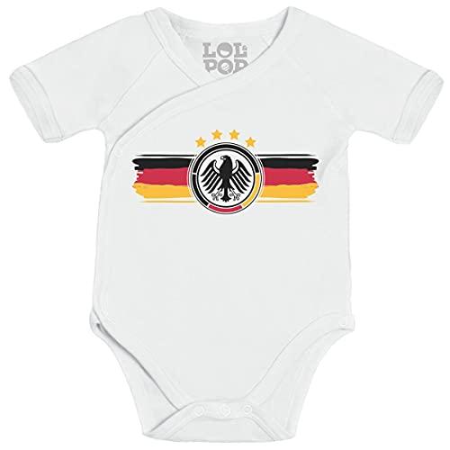 Shirtgeil Deutschland Trikot Baby Adler Fanartikel Wickelbody Newborn Weiß
