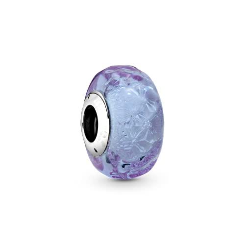 LIIHVYI Pandora Charms Original 925 Sterling Silber Perlensterling Silber Wellenförmig Lavendel Murano Glasperlen Armband Fit Armband DIY Schmuck Für Frauen