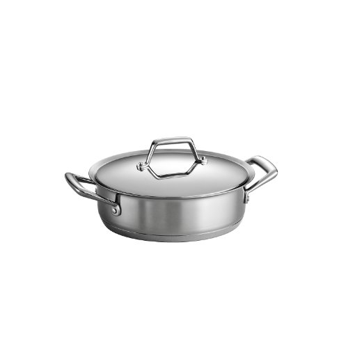 Tramontina 80101/003DS Gourmet Prima Stainless Steel, Induction-Ready, Impact Bonded, Tri-Ply Base Covered Casserole, 3 Quart, Made in Brazil