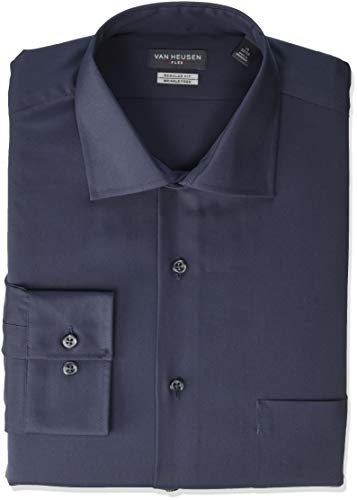 Van Heusen Men's Big and Tall Dress Shirt Regular Fit Flex Collar Solid, Charcoal, 18.5' Neck 34'-35' Sleeve