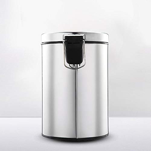 Xcwsmdq Mülleimer Runde Edelstahl-Step Abfalleimer Mülleimer Müllcontainer Sind for Badezimmer Schlafzimmer Küche Reinigungsmittel (Color : Silver)
