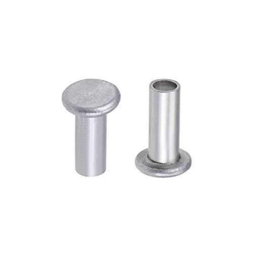 100 pezzi 5 mm x 12 mm alluminio Flat Head Semi-Tubular Rivets Silver Tone