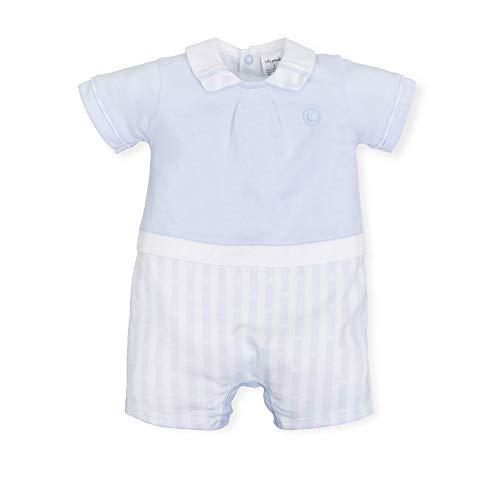 Tutto Piccolo 6280S19 Pelele Bebé Verano Polo Manga Corta Algodón (Tallas de 0 a 24 Meses), Estampado de Rayas, Colores Azul Celeste y Blanco