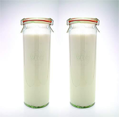 Weck Einmachgläser - Weckgläser aus Klarglas Umweltfreundliches Einmachglas Aufbewahrung für Lebensmittel, Joghurt und Gelee mit luftdichtem Verschluss Deckel 1/2 Liter hohes Set 2er Gläser