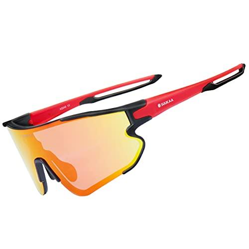 occhiali sportivi graduati SUUKAA Occhiali Ciclismo CE Autentica Polarizzati con 3 Lenti Intercambiabili Occhiali Bici Antivento e Antiappannamento Occhiali Sportivi da Sole Anti UV da Uomo Donna per Corsa