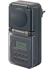 Brennenstuhl digitale Timer weekschakelklok IP44, digitale Tijdschakelaar met stopcontact (weekschakelklok voor buitengebruik, met hogere contactbescherming) antraciet