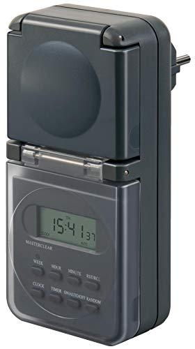 Brennenstuhl Digitale Wochenzeitschaltuhr IP44, digitale Timer-Steckdose (Wochen-Zeitschaltuhr für den Außenbereich, mit erhöhtem Berührungsschutz) anthrazit
