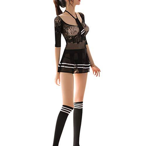 Healifty traje de colegiala conjunto de lencería sexy estudiante de cosplay con corbata traje de disfraces uniformes