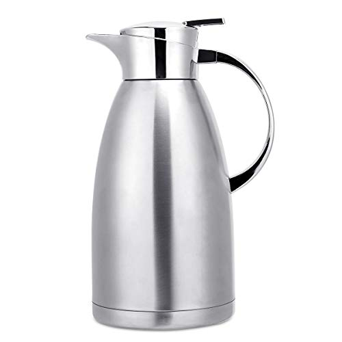 2.3 Litre Food-Grade Stainless Steel Thermal Carafe Jugs, Double Walled Vacuum Insulated Coffee Pot with Press Button Top,Many Hrs Heat&Cold Retention, for Coffee/Juice/Milk/Tea etc(Silver)