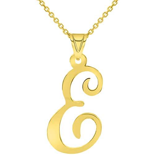 14k Yellow Gold Dainty Uppercase Script Initial E Cursive Letter Pendant Necklace, 16'