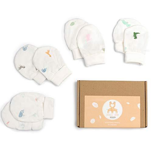 4 Paar Anti-Kratz-Fäustlinge aus Bambus | Neugeborenes Baby 0-3 Monate | Mädchen & Junge
