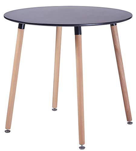 DORAFAIR Rund Esstisch Skandinavisch Küchentisch Modern MDF Esszimmertisch,Büro Konferenztisch Weiß Kaffeetisch,80 * 80 * 72 cm, 4 Beine Natur, Schwarz