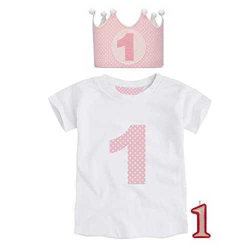 Kembilove Corona de Primer Cumpleaños con Camiseta – Adorable Conjunto de Cumpleaños de 1 Año para Niños y Niñas – Corona Ajustable Ideal para Fiestas de Cumpleaños Lunares Rosa