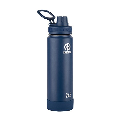 Takeya Actives Insulated Stainless Steel Water Bottle with Spout Lid, 24 oz, Midnight