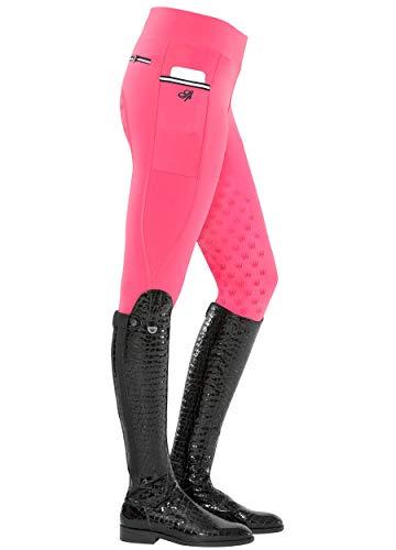 SPOOKS Damen Reitleggins Reithose Vollbesatz, Damenreithose Reithosen Turnierreithose Vollbesatzreithose - Sanne Full Grip Leggins - pink m