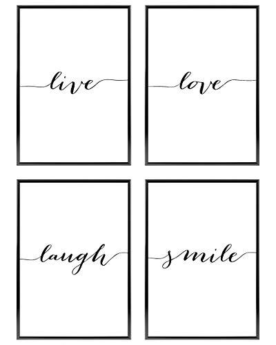 Heimlich ® Premium Poster Set | OHNE Bilderrahmen | Stilvolles Set mit passenden Bilder in Schwarz-Weiß | 4 Stück in DIN A4 (21x30cm) | Ohne Bilderrahmen » Live Love «
