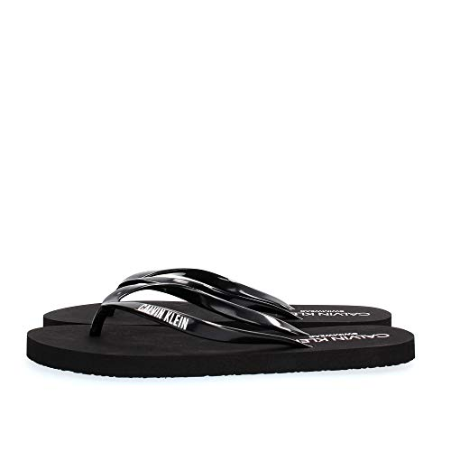 Calvin Klein Frau Flip Flops Strand Hausschuhe Meer Beachwear CK Artikel KW0KW01032 FF Sandals, BEH Pvh Black, EUR 35/36 - UK 2.5/3.5 - USA 5/6 - cm 22/23