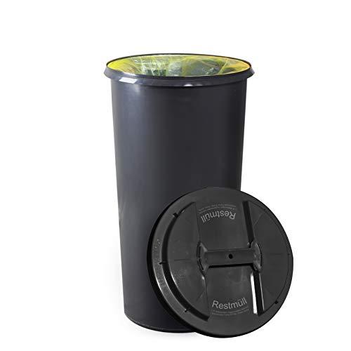 *KUEFA BSC6 LA – 60L Mülleimer/Müllsackständer/Gelber Sack Ständer (Grau, Restmüll)*