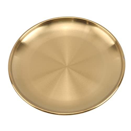 WWWL Plato de Postre Placas de Cena Estilo Europeo de Oro Placa de Postre Cocina Sirviendo Platos Ensalada Placa Redonda Pastel Bandeja Occidental Filete (Color : Gold, Plate Size : 20cm)