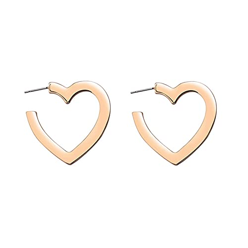 Boutiquesi Corazón Geométrico/Estrella/Hexagonal Forma Stud Pendientes Retro Retro Fashion Pendientes En Forma De C Medio Envuelto Pendiente para Mujeres Niñas