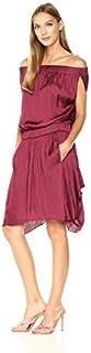 فستان نسائي ماركة HALSTON HERITAGE بدون أكمام من الساتان مع تنورة انسيابية
