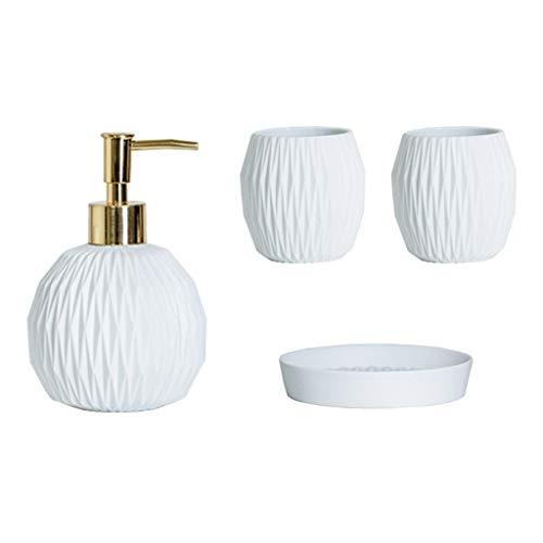 Dispenser di sapone in ceramica dispenser di sapone alla moda creativo emulsione dispenser e 4 pezzi accessori da bagno per bagno cucina WC sapone liquido (colore C)