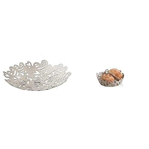 BRANDANI 54719 Cestino Frutta Batticuore In Metallo & 54274 Cestino Pane Batticuore Tortora In Metal