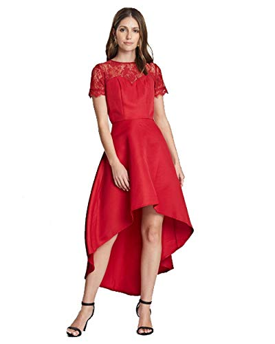 Chi Chi London Georgee Lace Dip Hem Dress for Women in Red, 8