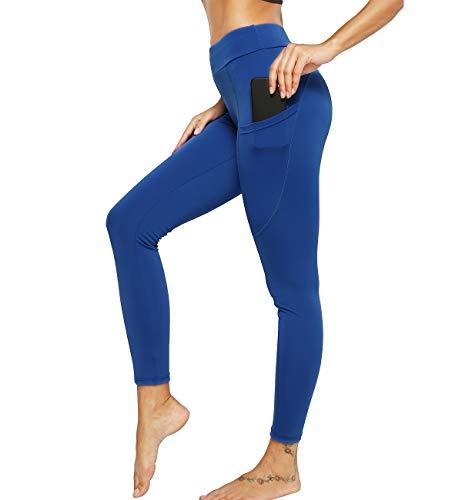 KIWI RATA Leggings Mujer Fitness con Bolsillos Mallas Pantalones Deportivos de Cintura Alta Yoga Leggins para Running Deporte Estiramiento Elásticos y Transpirables