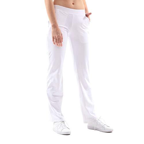 Sportkind Mädchen & Damen Fitness, Sport Tennishose lang mit tiefen Taschen, atmungsaktiv, Weiss, Gr. 158