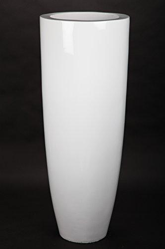 point home Blumentopf, Pflanzkübel aus Fiberglas, weiß, 105cm - für Innen