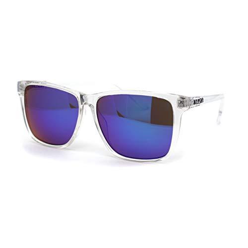 Kush Mens Clear Frame Rectangular Mirror Lens Sunglasses Teal