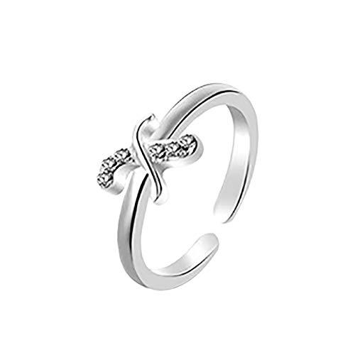 Janly Clearance Sale Anillos para mujer, 26 letras inglesas, diseño de letras en inglés, regalo para parejas, conjuntos de joyas, día de San Valentín (X)
