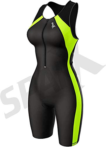 Sparx Women Triathlon Suit Tri Short Racing Cycling Swim Run (Black/Neon Gree, XL)