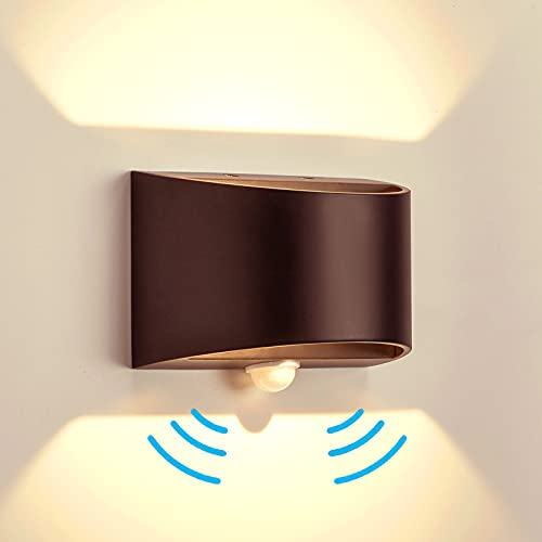 Temgin LED Aplique pared con Sensor de Movimiento para Interior Blanco Cálido Negro mate Lámpara de pared Aluminio luz nocturna para pasillo escalera garaje salón 7W
