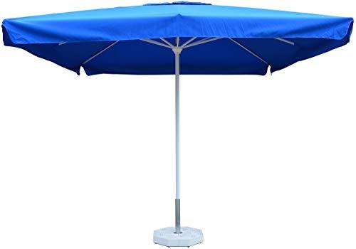 VOMERO ombrello per esterni mt 3x3 (Bianco Lucido - Blu) - Ombrellone da Giardino Professionale in Alluminio, Parasole da Esterno, Ombrello da Stabilimento Spiaggia